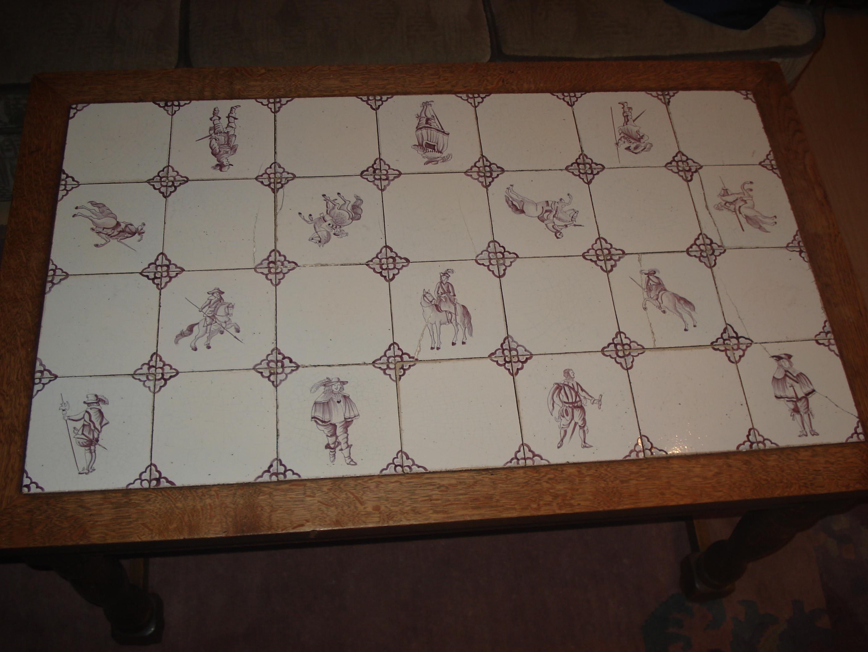 Delft Fliesen Kacheln Tisch Wohnzimmer Antik Violett Couchtisch